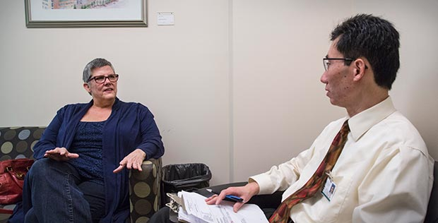 Cancer patient Ruth Kaminski meets with Dr. Jesse Fann for a counseling session at Seattle Cancer Care Alliance.
